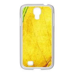 Green Yellow Leaf Texture Leaves Samsung Galaxy S4 I9500/ I9505 Case (white)
