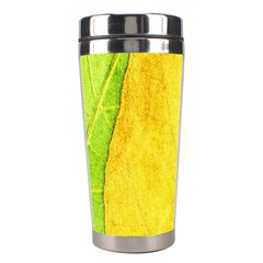 Green Yellow Leaf Texture Leaves Stainless Steel Travel Tumblers