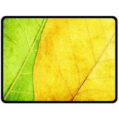 Green Yellow Leaf Texture Leaves Double Sided Fleece Blanket (large)