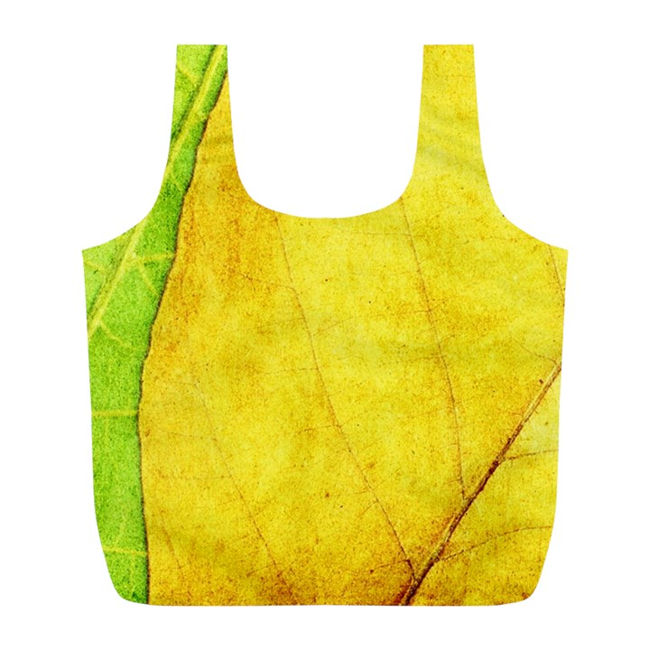 Green Yellow Leaf Texture Leaves Full Print Recycle Bag (L)