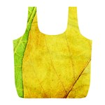 Green Yellow Leaf Texture Leaves Full Print Recycle Bag (L) Back