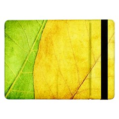 Green Yellow Leaf Texture Leaves Samsung Galaxy Tab Pro 12 2  Flip Case