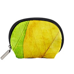 Green Yellow Leaf Texture Leaves Accessory Pouch (small)
