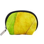 Green Yellow Leaf Texture Leaves Accessory Pouch (Small) Front