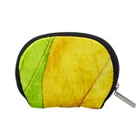 Green Yellow Leaf Texture Leaves Accessory Pouch (Small) Back