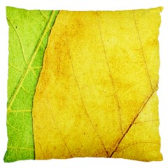 Green Yellow Leaf Texture Leaves Large Flano Cushion Case (one Side) by Alisyart