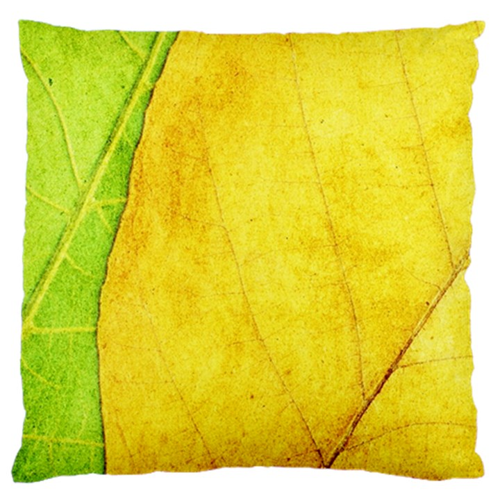 Green Yellow Leaf Texture Leaves Large Flano Cushion Case (One Side)