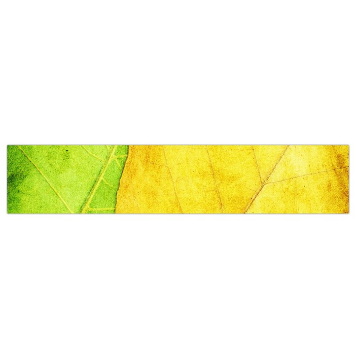 Green Yellow Leaf Texture Leaves Small Flano Scarf