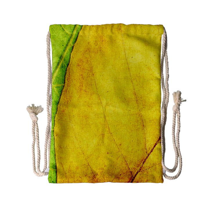 Green Yellow Leaf Texture Leaves Drawstring Bag (Small)