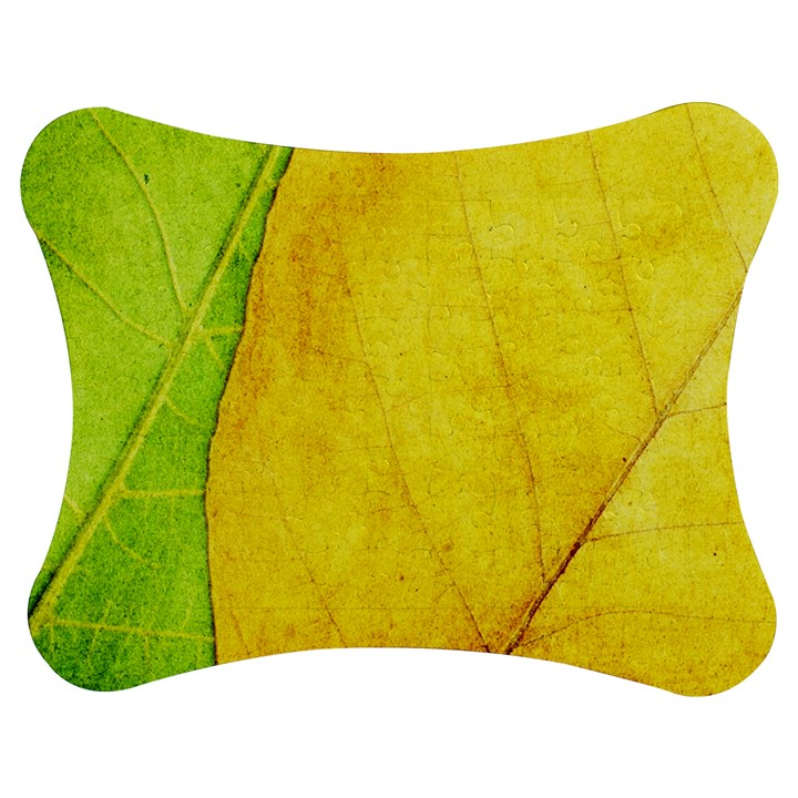Green Yellow Leaf Texture Leaves Jigsaw Puzzle Photo Stand (Bow)