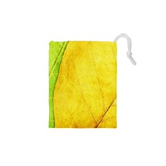 Green Yellow Leaf Texture Leaves Drawstring Pouch (xs)