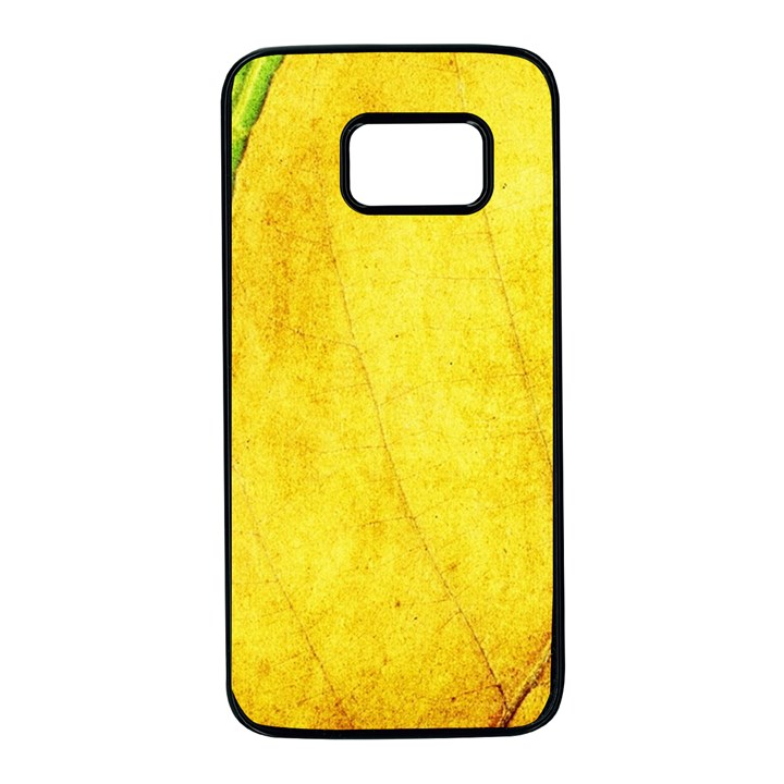 Green Yellow Leaf Texture Leaves Samsung Galaxy S7 Black Seamless Case