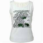 Montains Hills Green Forests Women s White Tank Top Front