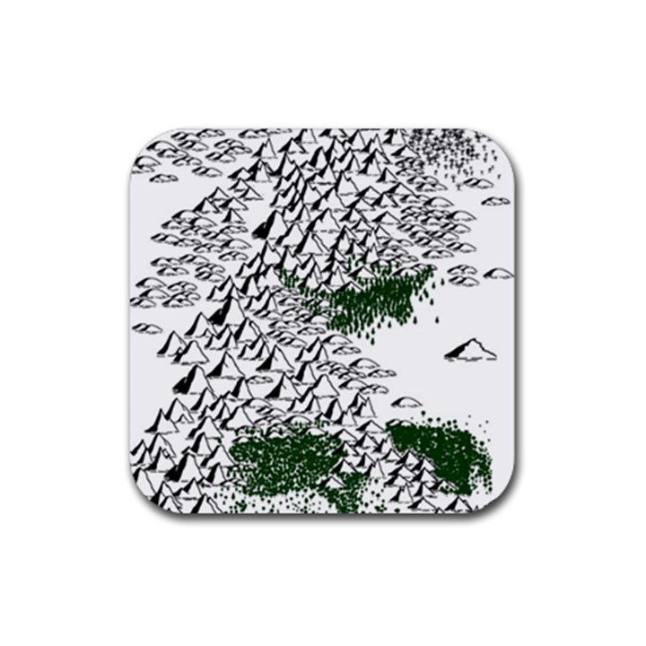 Montains Hills Green Forests Rubber Square Coaster (4 pack)