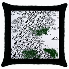 Montains Hills Green Forests Throw Pillow Case (black)