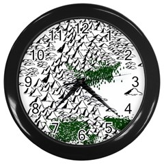 Montains Hills Green Forests Wall Clock (black)