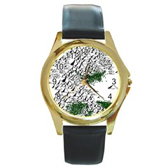 Montains Hills Green Forests Round Gold Metal Watch