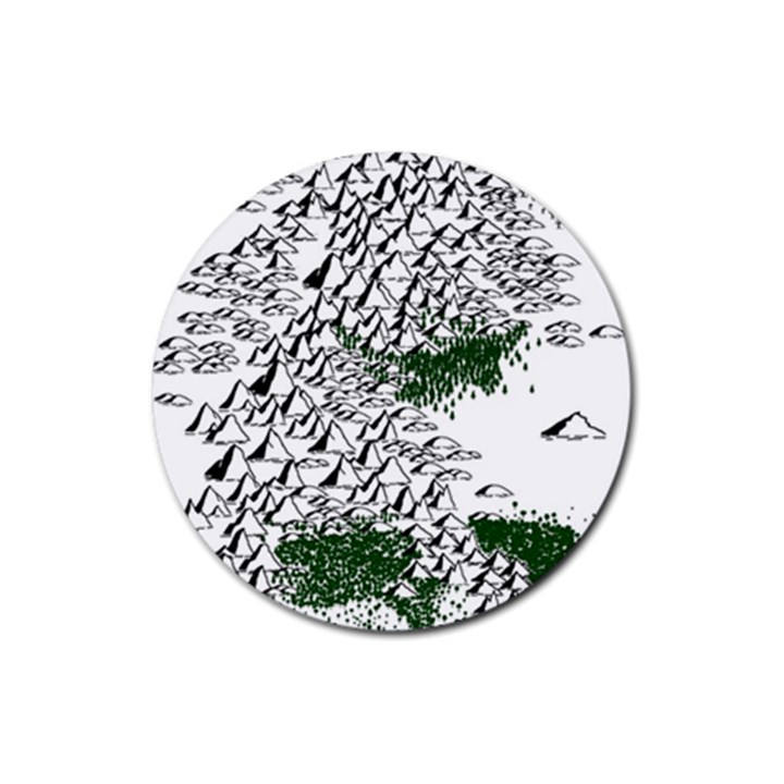 Montains Hills Green Forests Rubber Round Coaster (4 pack)