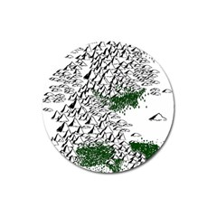 Montains Hills Green Forests Magnet 3  (round)