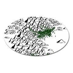 Montains Hills Green Forests Oval Magnet by Alisyart