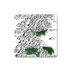 Montains Hills Green Forests Square Magnet