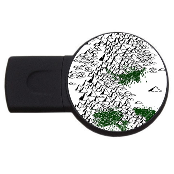Montains Hills Green Forests USB Flash Drive Round (2 GB)