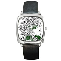 Montains Hills Green Forests Square Metal Watch