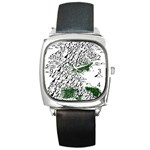 Montains Hills Green Forests Square Metal Watch Front