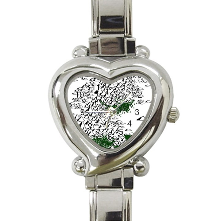 Montains Hills Green Forests Heart Italian Charm Watch