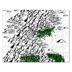 Montains Hills Green Forests Rectangular Jigsaw Puzzl by Alisyart