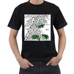 Montains Hills Green Forests Men s T-Shirt (Black) (Two Sided) Front