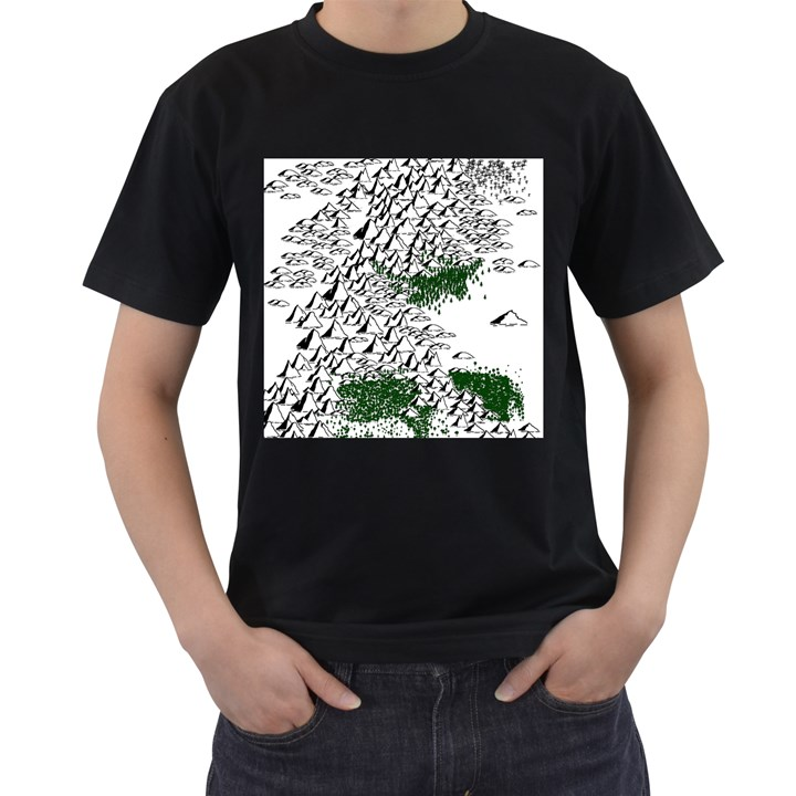 Montains Hills Green Forests Men s T-Shirt (Black) (Two Sided)