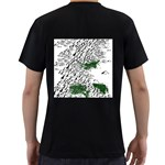 Montains Hills Green Forests Men s T-Shirt (Black) (Two Sided) Back