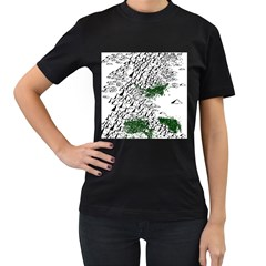 Montains Hills Green Forests Women s T Shirt (black) (two Sided)