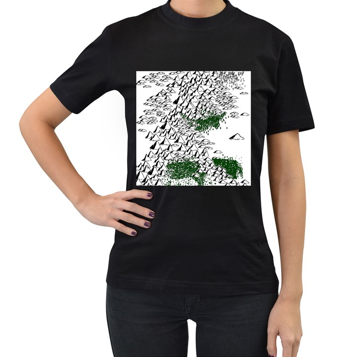 Montains Hills Green Forests Women s T-Shirt (Black) (Two Sided)