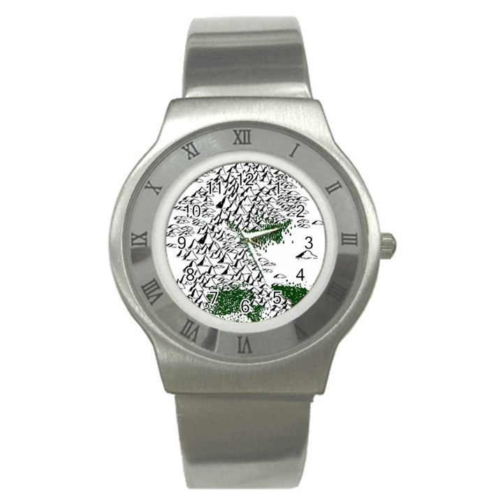 Montains Hills Green Forests Stainless Steel Watch