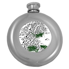 Montains Hills Green Forests Round Hip Flask (5 Oz)