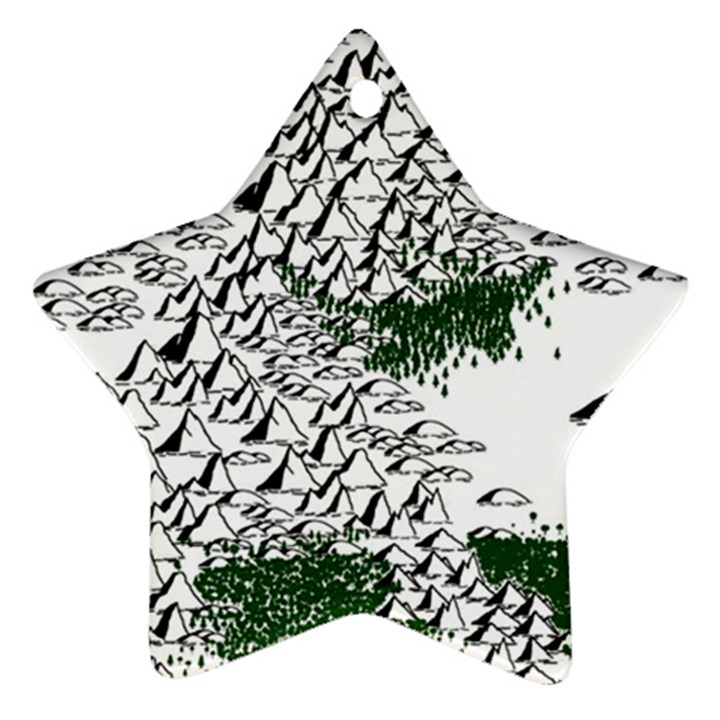 Montains Hills Green Forests Star Ornament (Two Sides)