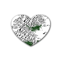 Montains Hills Green Forests Heart Coaster (4 Pack)