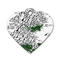 Montains Hills Green Forests Dog Tag Heart (two Sides)