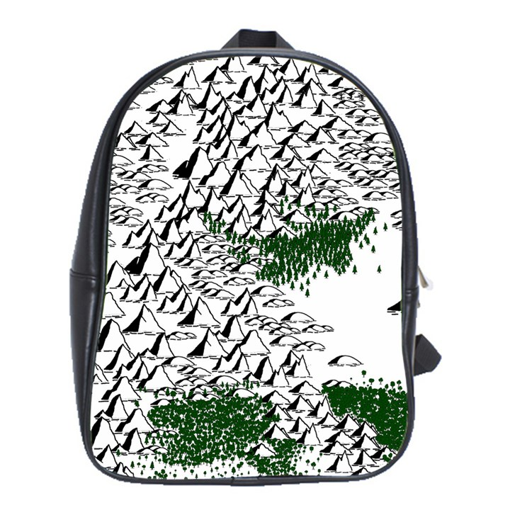 Montains Hills Green Forests School Bag (Large)