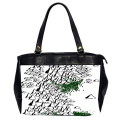Montains Hills Green Forests Oversize Office Handbag (2 Sides)