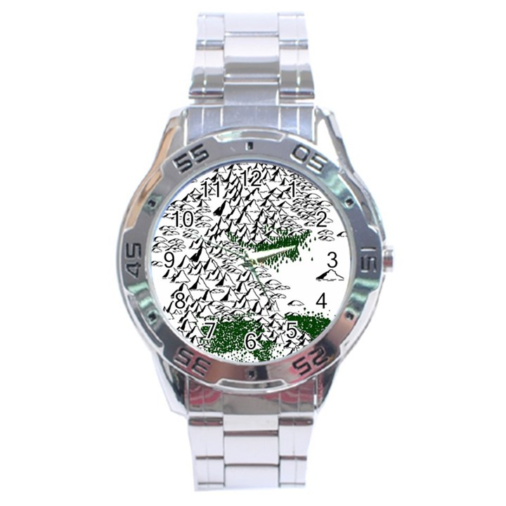 Montains Hills Green Forests Stainless Steel Analogue Watch