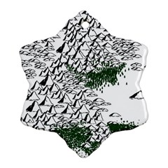 Montains Hills Green Forests Ornament (snowflake)