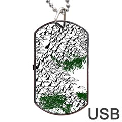 Montains Hills Green Forests Dog Tag Usb Flash (two Sides) by Alisyart