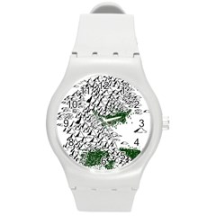 Montains Hills Green Forests Round Plastic Sport Watch (m)