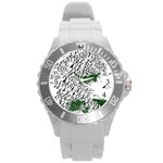 Montains Hills Green Forests Round Plastic Sport Watch (L) Front