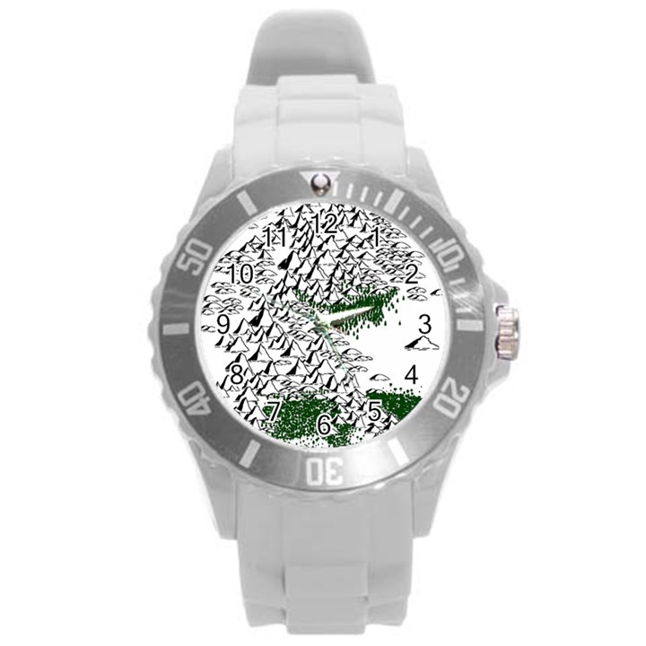 Montains Hills Green Forests Round Plastic Sport Watch (L)