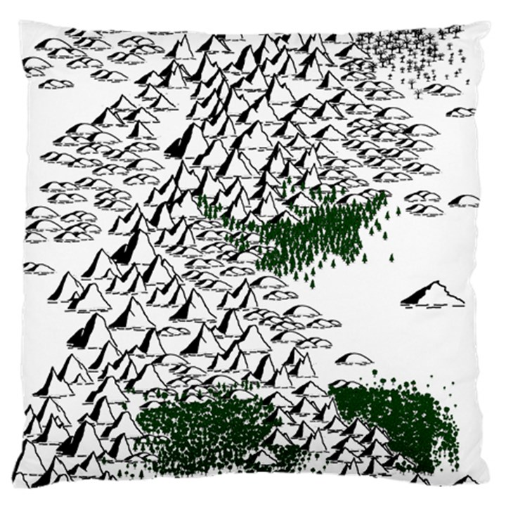 Montains Hills Green Forests Large Flano Cushion Case (One Side)
