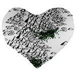 Montains Hills Green Forests Large 19  Premium Flano Heart Shape Cushions Back
